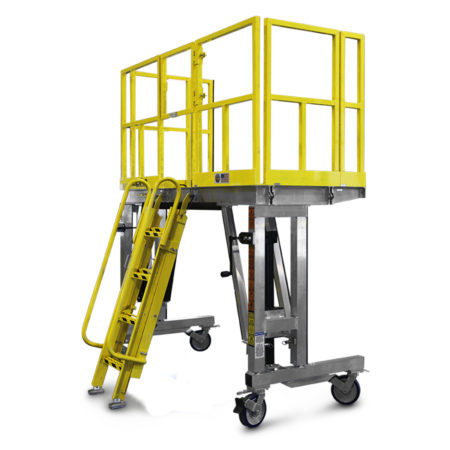 OSHA compliant, portable aluminum fleet maintenance work stands that are height adjustable and available with ladder or adjustable and detachable stair access.