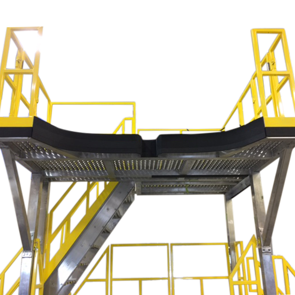 OSHA compliant aluminum mobile work platform with stair and dual customized deck shape, deck extensions for overreach and toe board for 100% fall prevention.