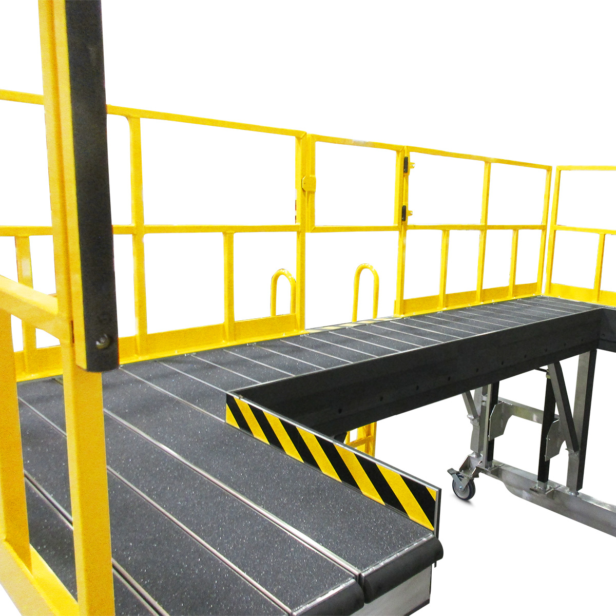 Customizable OSHA compliant aluminum mobile work platforms with decks shaped to conformance and deck extensions for added overreach.