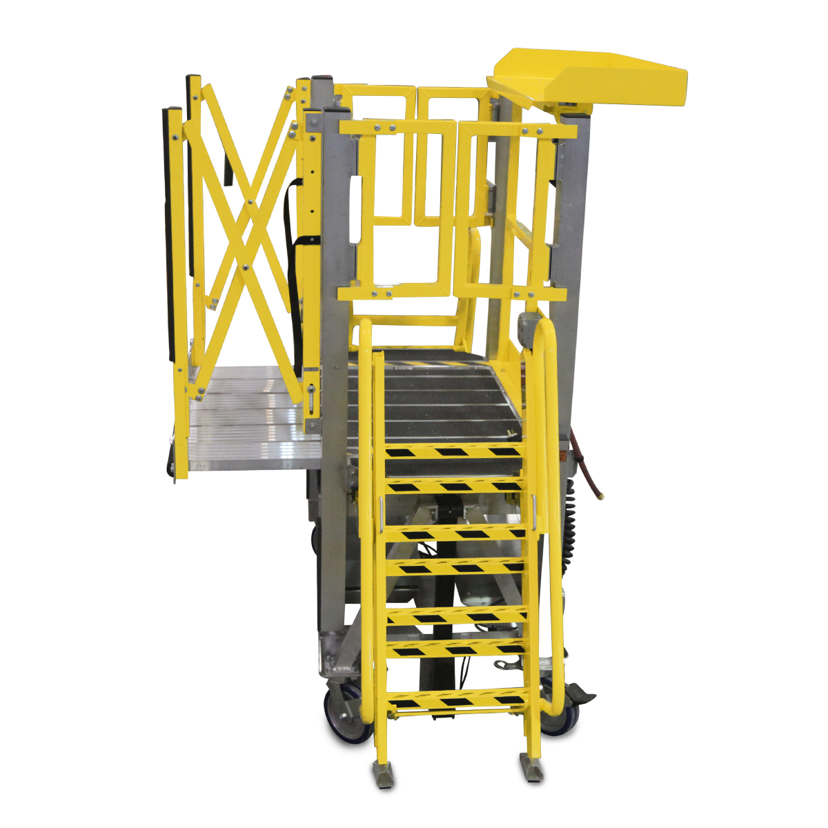 Customizable OSHA compliant portable aluminum work stand with height adjustable ladders, deck extensions for overreach and laptop tool trays for improved ergonomics.