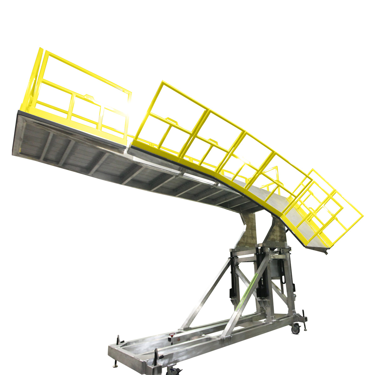 OSHA compliant aluminum work platform with electric height adjustability and custom electric features for extending, retracting and folding decks.