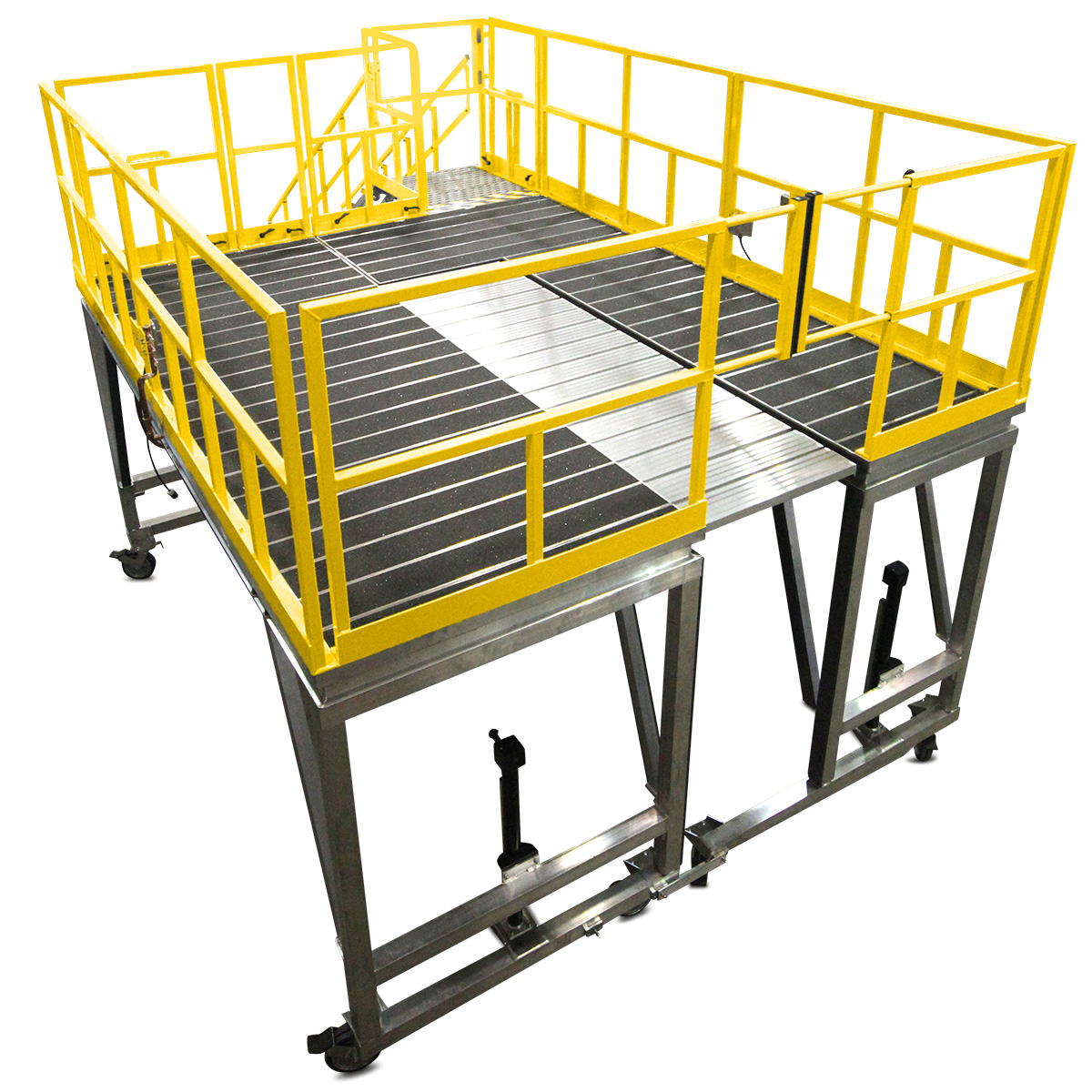OSHA compliant mobile aluminum work platforms with linking capabilities and cantilever deck extensions to create a complete wrap around system for maintenance and 100% fall protection.