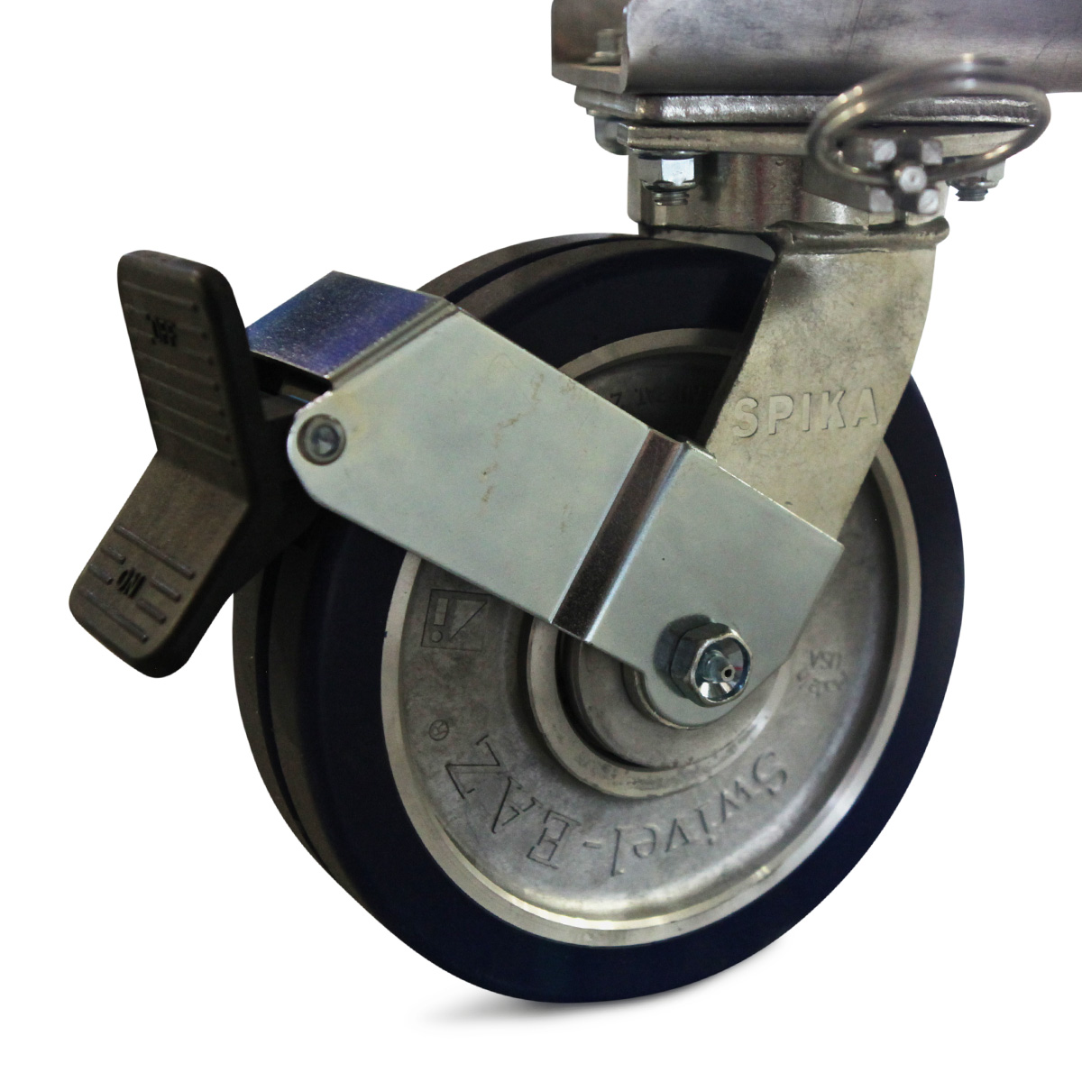 Heavy duty, industrial dual disc caster designed specifically for Spika Design & Manufacturing for use on OSHA compliant, mobile, aluminum work platforms