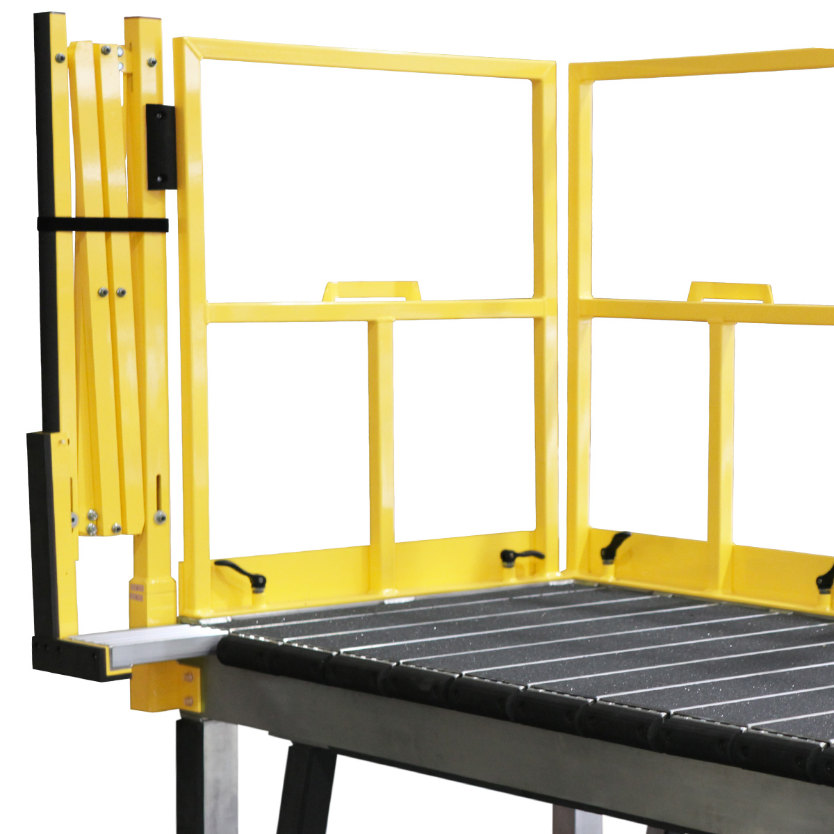 CH-47 Chinook Helicopter – Daily Maintenance OSHA compliant, portable aluminum work platform with adjustable guardrails and accordion extension guardrails that automatically extend with cantilever deck extensions for 100% fall prevention.