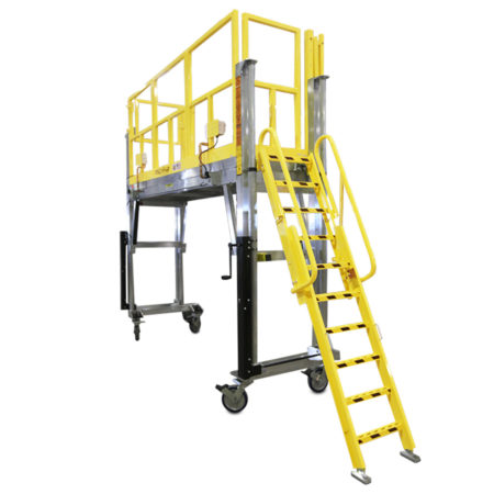 OSHA compliant, mobile working stand that can be customized to extend or widen the deck in order to access the full-length of an article or link decks to create wrap-around accessibility.