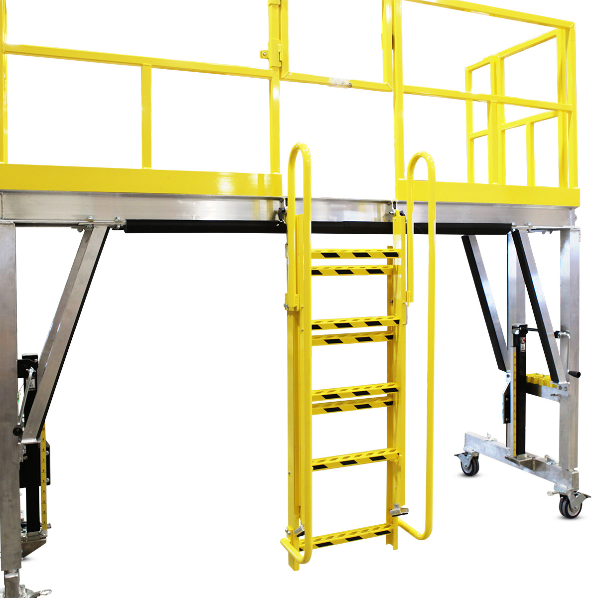 Custom OSHA complaint, mobile, height-adjustable aluminum work stand with cantilever deck extensions and stowaway ladders.