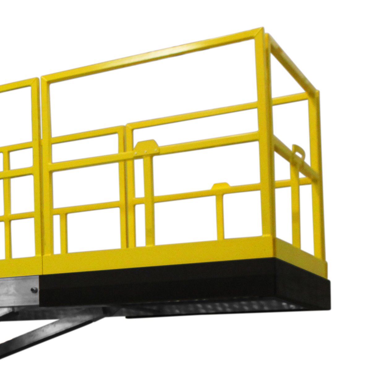 OSHA compliant, portable aluminum work platform with adjustable guardrails for 100% fall prevention.