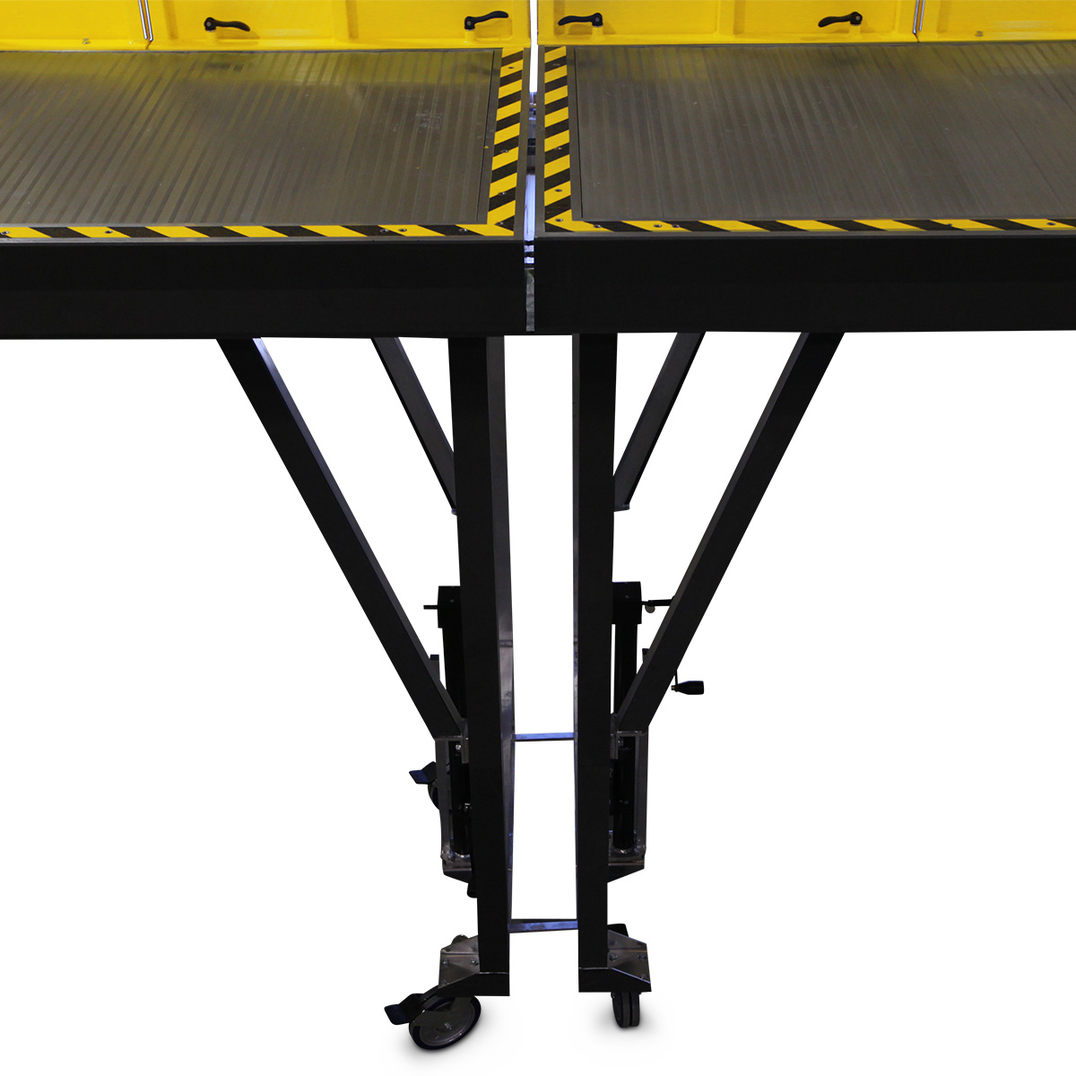 OSHA compliant, adjustable height mobile work stand with protective foam on all leading edges and link bars for leveling work surfaces while on uneven shop floors.