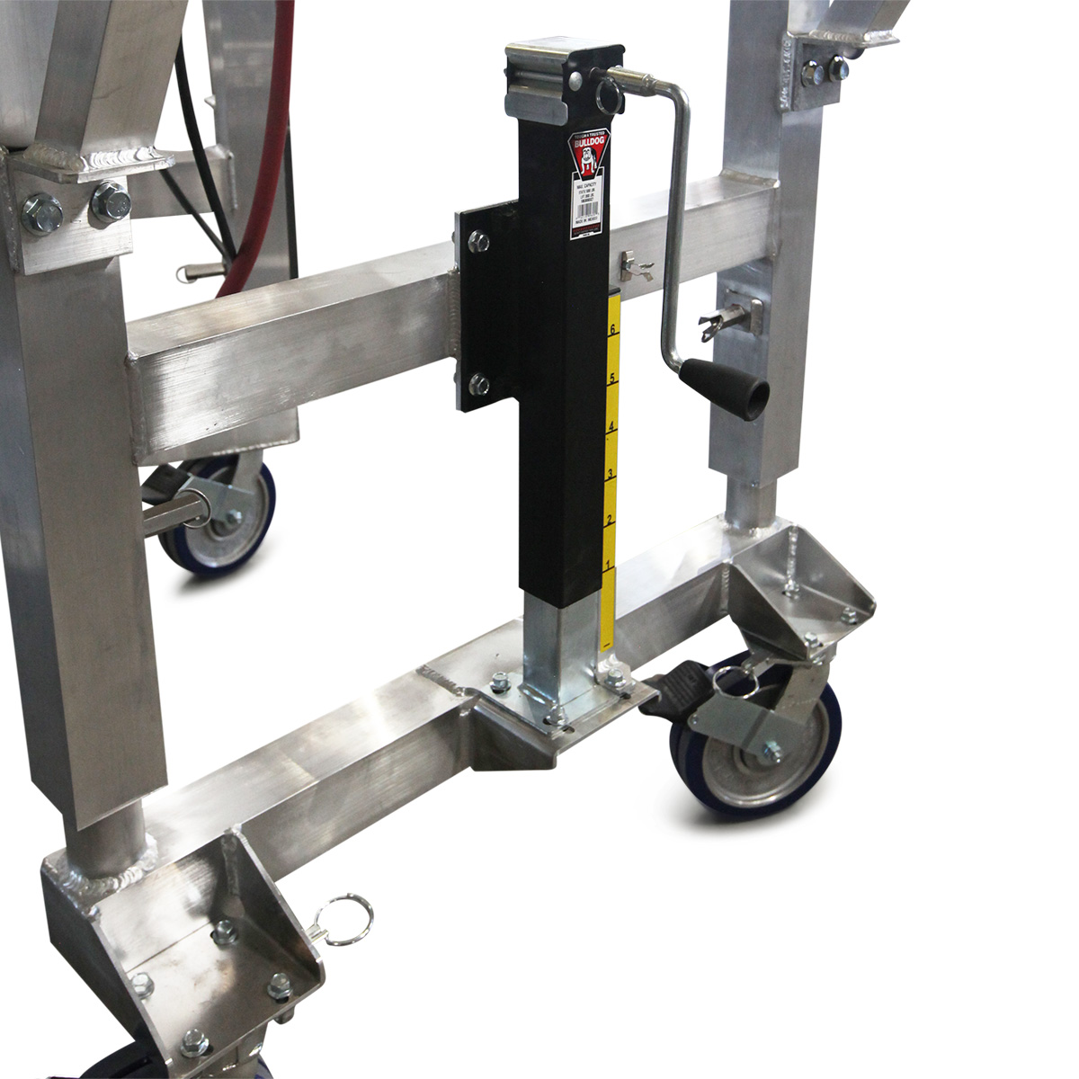 OSHA compliant, height-adjustable aluminum work stand with linked jacks requiring 50% less labor to raise and lower.