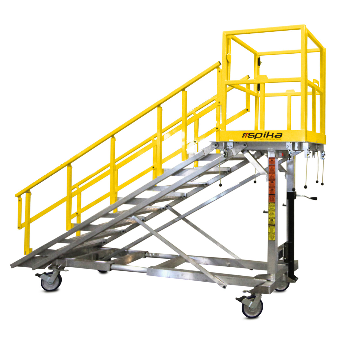 OSHA compliant, mobile, aluminum, height adjustable independent and attached staircase with equal step distance at any height.