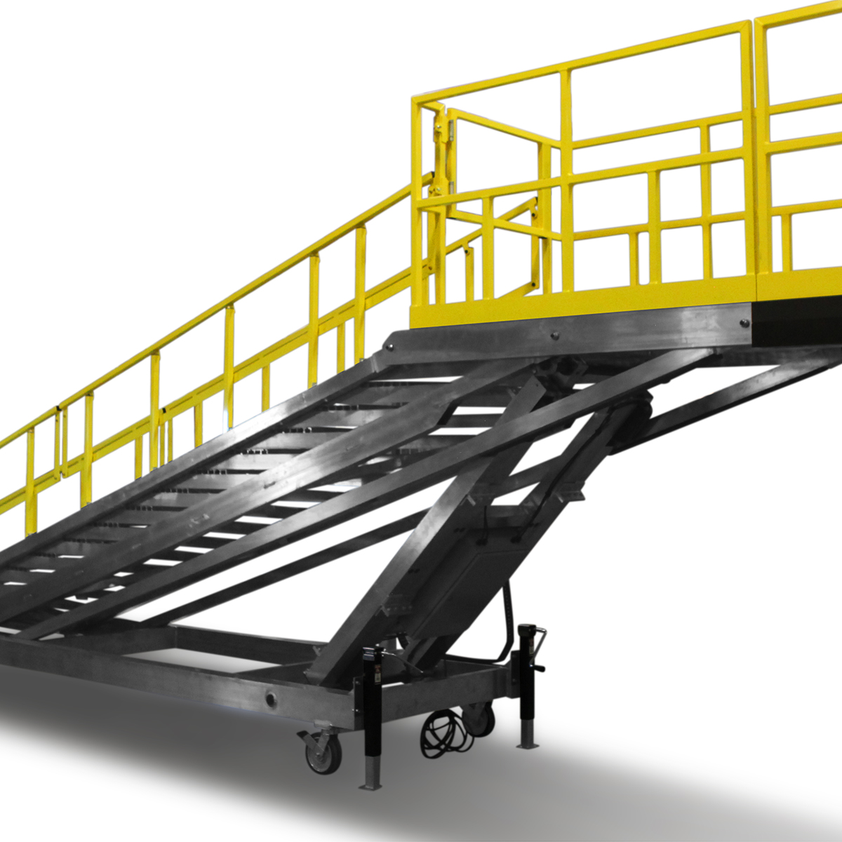 OSHA compliant, mobile aluminum staircase work platform with optional stabilizing floor jacks.