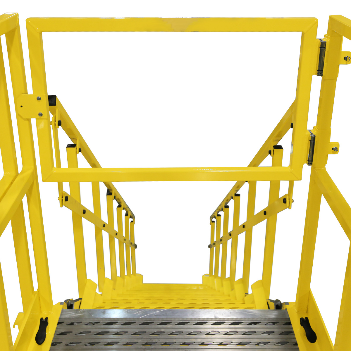 OSHA compliant, portable aluminum work platform with self-closing safety gate for 100% fall prevention.