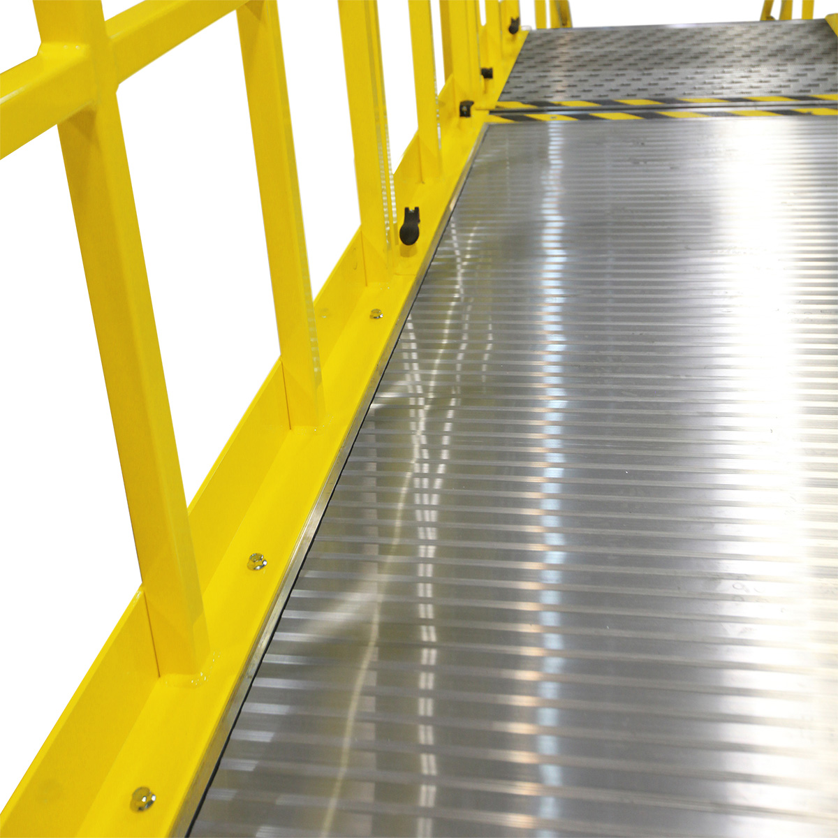 OSHA compliant, portable aluminum work platforms with options for aggressive tread and high-traction work surfaces for improved ergonomics and comfort.