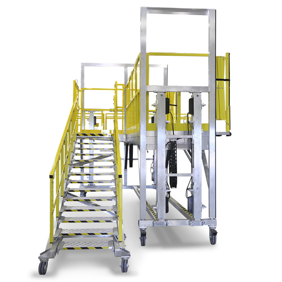 OSHA compliant, mobile aluminum work platform with adjustable staircase and electric height adjustability capable of vertical travel up to 8 feet or more.