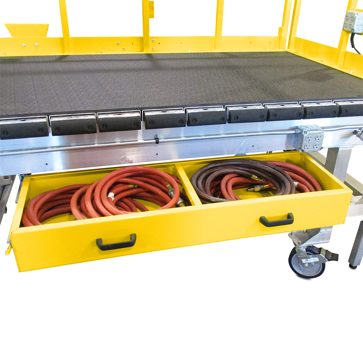 Ergonomic storage for OSHA compliant, portable, aluminum work stands with integrated cabinets and integrated drawers.