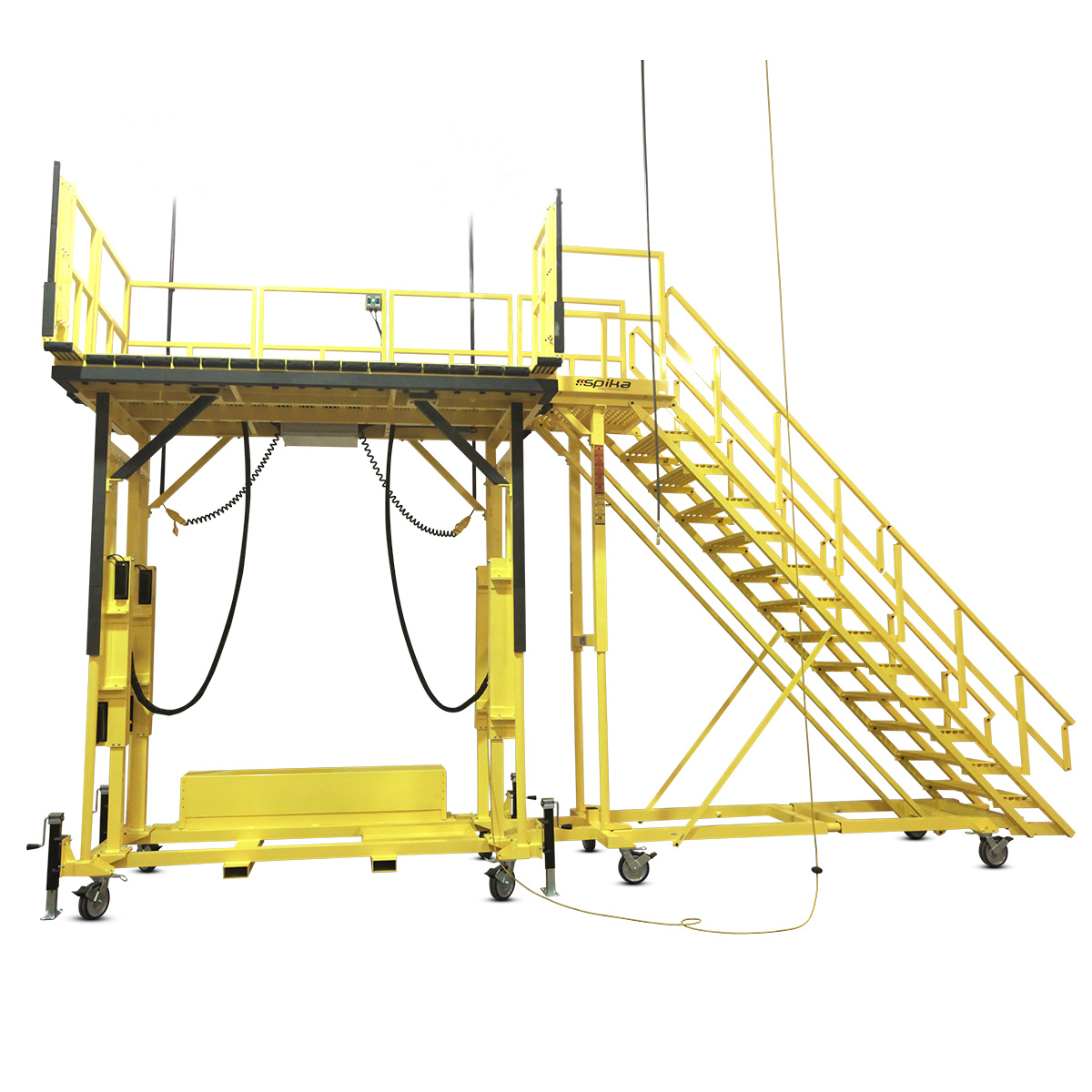 OSHA complaint electric height adjustable aluminum work stand with stair in full powder coat for rust-resistance.