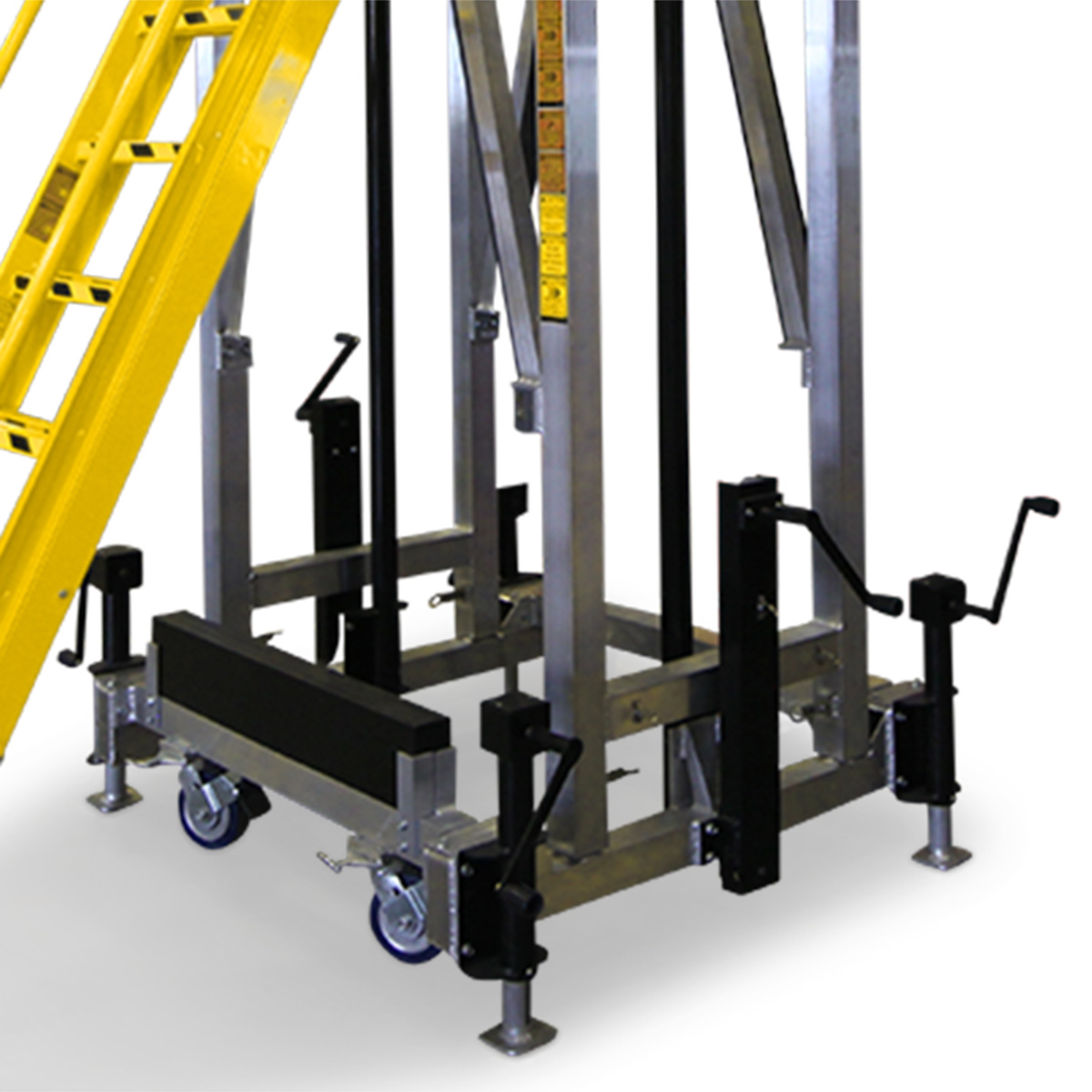 Floor leveling jacks, floor locks and electric lifting columns for OSHA compliant, mobile, height-adjustable work stands.