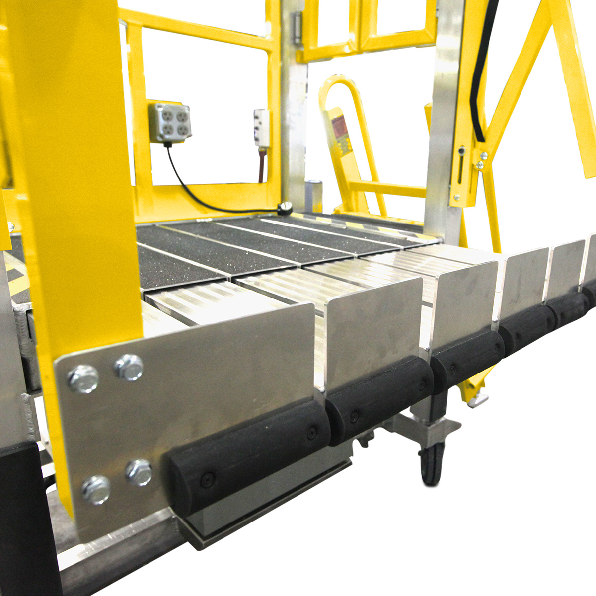 OSHA compliant toeboards for portable aluminum work platforms and deck extensions for cantilever overreach access.