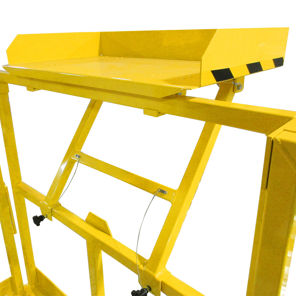 Laptop and tool trays which fold away when needed on Spika's 100% OSHA compliant work platforms and mobile work stands.