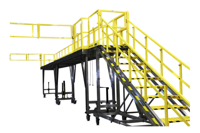 OSHA compliant mobile aluminum fleet maintenance work stands with crossover guardrails that extend to expand overreach for 100% fall protection.