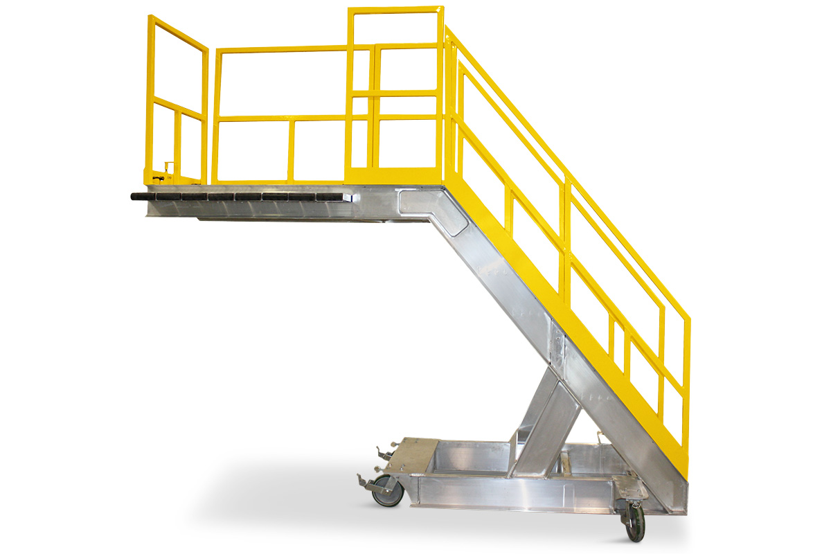 OSHA complaint, aluminum work-stand with nearly seamless transition from deck surface to deck extension for overreach when cantilever access is required.