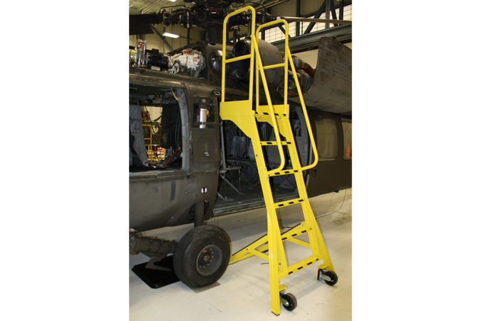 OSHA compliant mobile, aluminum self-supporting ladder with support legs place easily over obstacles allowing for overreach while working.