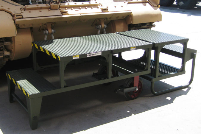 OSHA compliant mobile, aluminum low level folding stand with extruded plank deck for sure-footed traction that is kinder to skin and clothing.