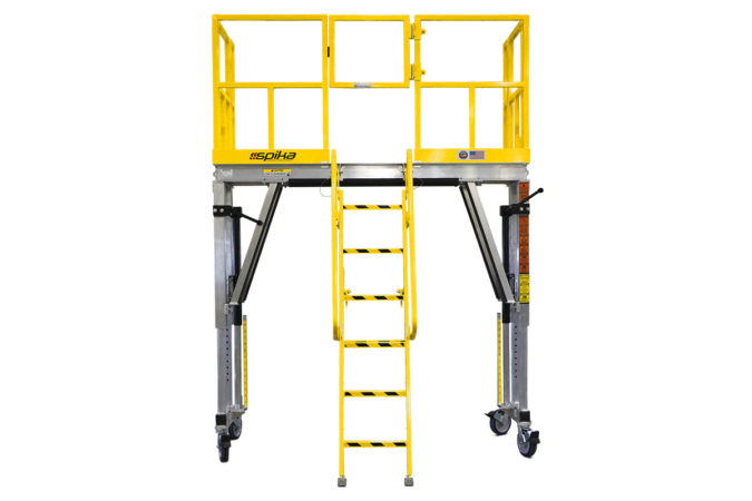 OSHA compliant, portable, height-adjustable work stand with linked jacks to reduce labor when raising and lowering.