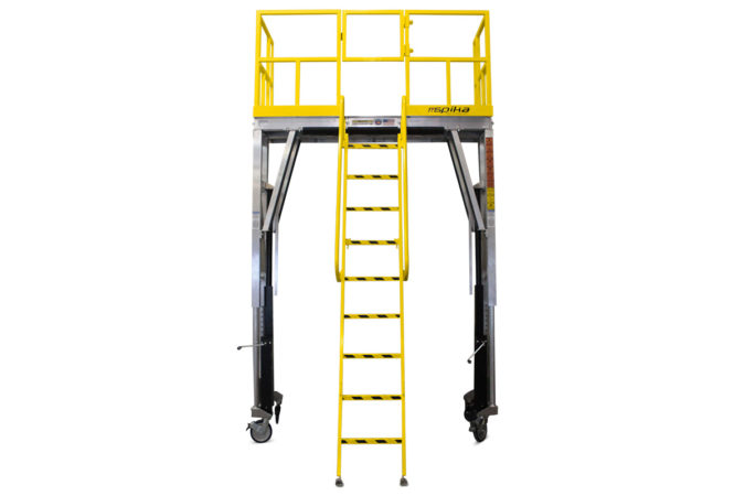 OSHA complaint, mobile aluminum work platform is available as a fixed height stand with ladder or an adjustable height stand capable of vertical travel up to 8 feet or more.
