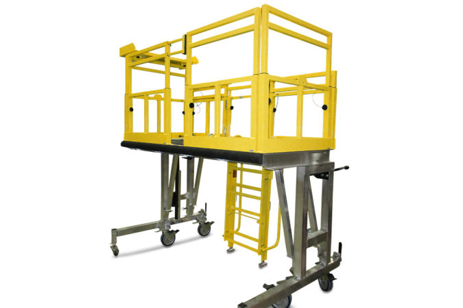 OSHA compliant portable, aluminum workstand with height adjustability and vertical telescopic guardrails lower to accommodate obstacles without losing protection.