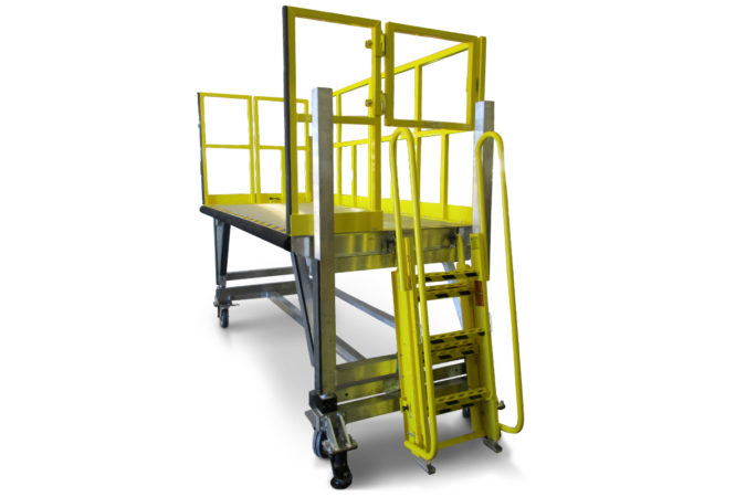 Lightweight, mobile, aluminum work stand meets OSHA requirements and allows for custom ladder location.