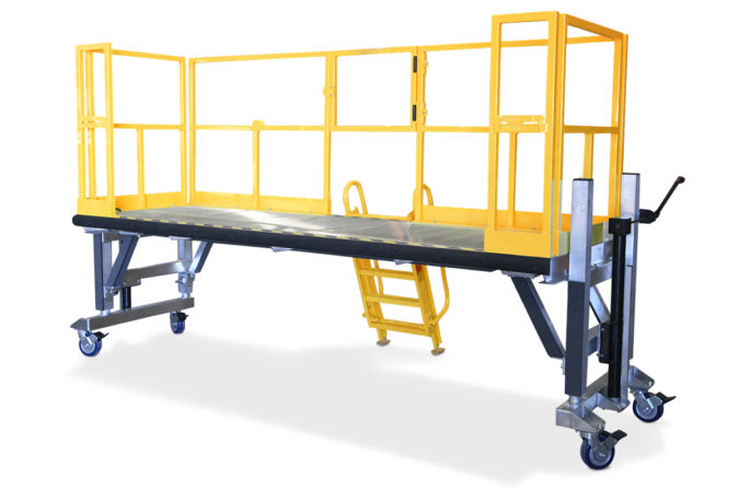 OSHA compliant, portable, aluminum work deck can be customized to be extended or widened to access the full-length of an article or linked to create wrap-around accessibility.