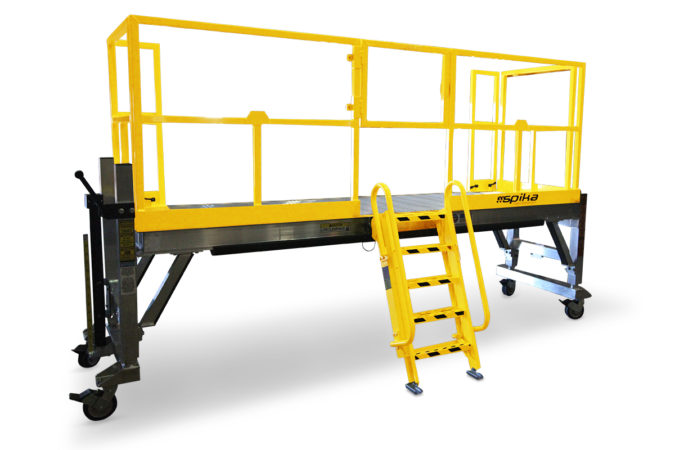 OSHA compliant, mobile, aluminum work platform uses a self-closing safety gate to ensure employee safety compliance.