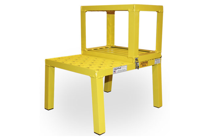 OSHA compliant portable aluminum mini low level folding stand available in custom colors with 600 LBS load capacity.