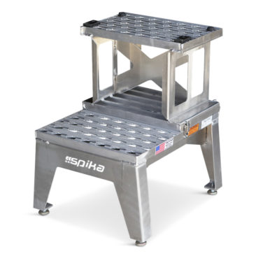 OSHA compliant portable aluminum mini bifold stand folds up to reach two feet or 24 inches in height.