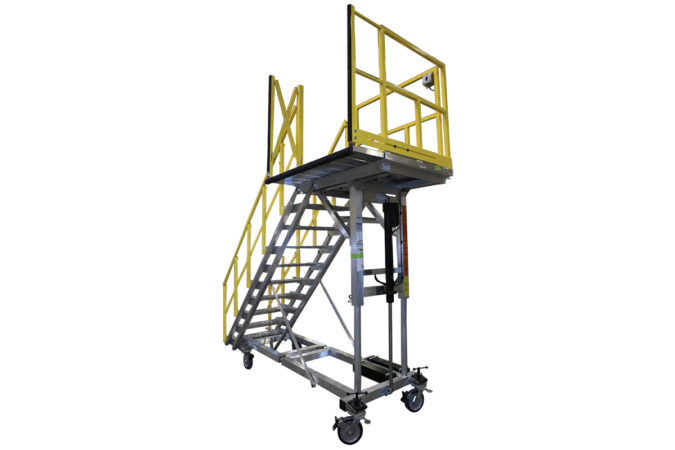 OSHA compliant, portable, aluminum work platform with optional Thinline deck extensions with counter-weights allow extended overreach and conformance.