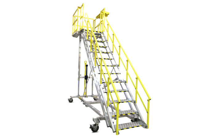 OSHA compliant, aluminum, mobile, stair work-stand with manual or electric height adjust ability with vertical travel from one foot to eight feet or more.