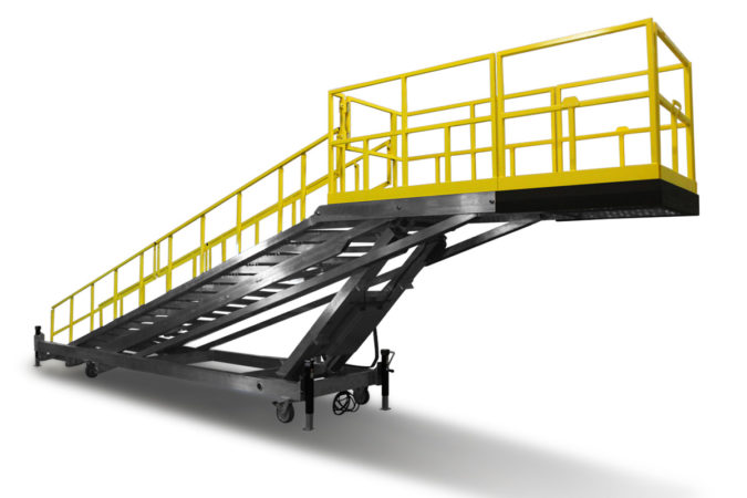 OSHA compliant aluminum, portable, electric, height adjustable, stair platform available in rust-resistant, full powder coat with on-deck electric controls for height adjustments from 1 to 8 feet or more.