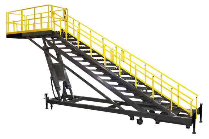 OSHA compliant aluminum, electric, height adjustable, mobile stair stand self-closing safety gate's intuitive design and simplicity of use ensures employee safety compliance.