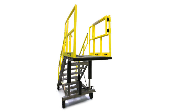 OSHA compliant, aluminum, portable, cantilevered work platform with mechanically attached foam to protect personnel and equipment.