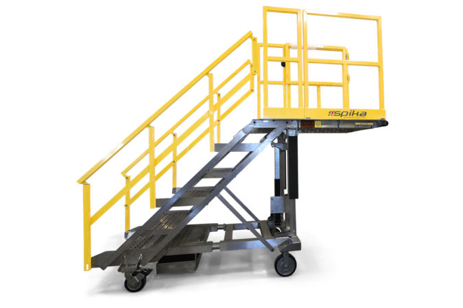 OSHA compliant, mobile, aluminum work stair platform available customized to a fixed height or as an adjustable height stair platform with overreach or cantilever platform.