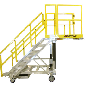 OSHA compliant, aluminum, mobile, work stand available as a fixed height work platform or as an adjustable height work stand with overreach.