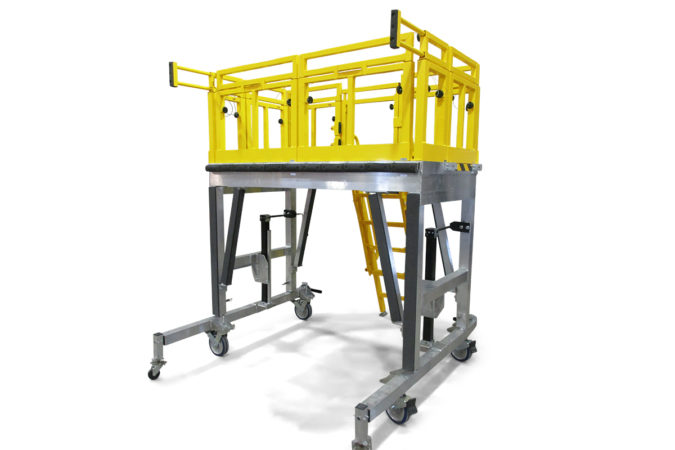 OSHA compliant, mobile, aluminum work platform with rotating outriggers for added overreach without using counterweights or requiring access under the article when working in the cantilever position.
