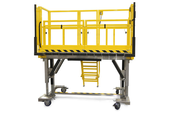 OSHA compliant, portable, aluminum, height-adjustable work platform with mechanically attached foam to protect personnel and assets.