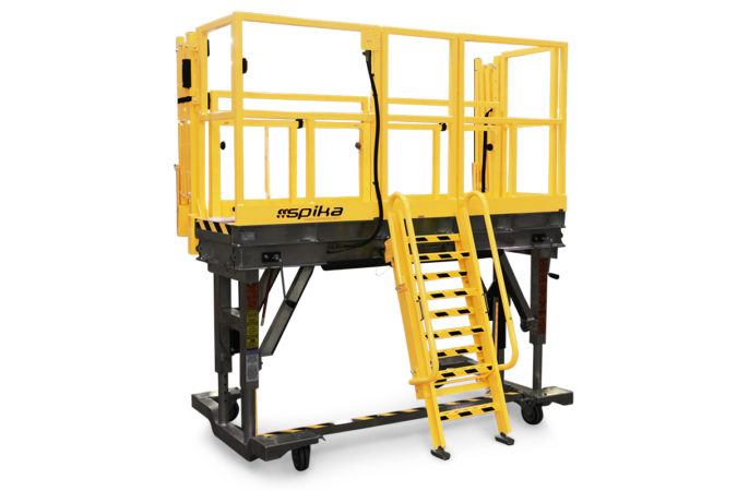 OSHA compliant, mobile, aluminum, adjustable height workstand with adjustable self-stowing ladder and optional vertical telescopic guardrails lower to maintain 100% fall protection.