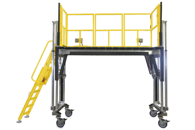 OSHA compliant, portable, aluminum, height-adjustable work platform with completely custom guardrails, 4-side fall protection or 3-side fall protection.