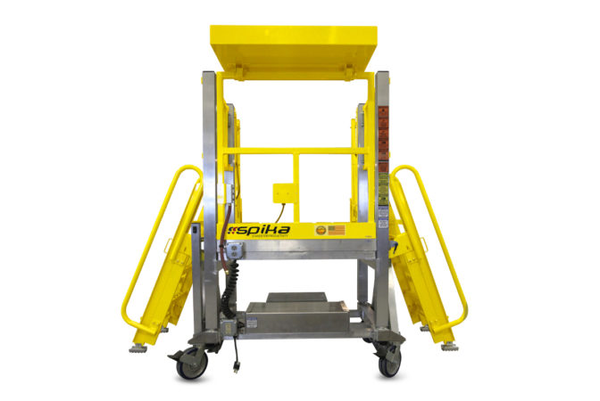 OSHA compliant, mobile, aluminum workstand offering height adjustability and overreach with customizable ladder.