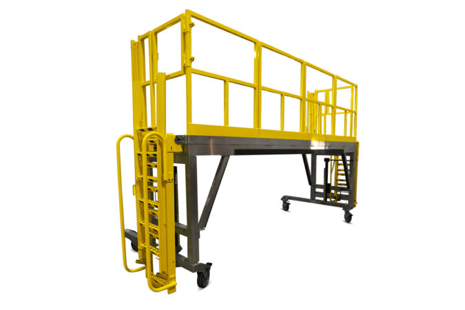 OSHA compliant aluminum, mobile working stand with self-stowing ladder and customizable guardrails.