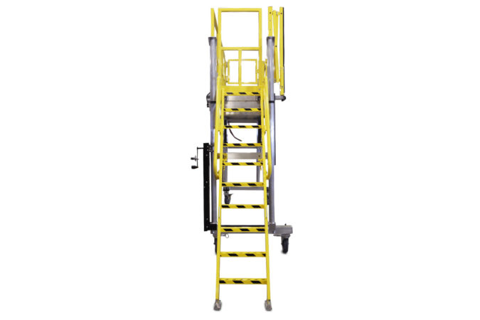 OSHA compliant, portable, aluminum, height-adjustable work stand with electric or manual height control capable of vertical travel from 1 to 8 feet or more, includes self-stowing adjustable ladder.