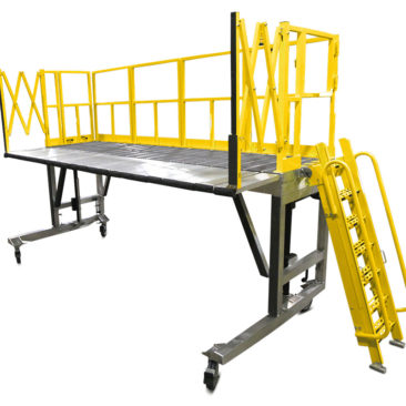 OSHA compliant mobile, aluminum work platform available as a fixed height stand or as a height-adjustable stand with individual deck extensions for overreach and conformity.